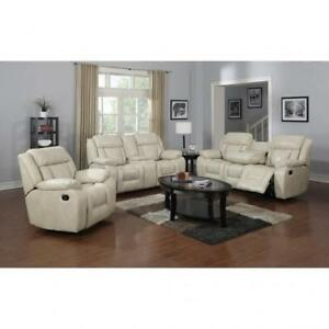 Beige Recliner Sofa set in Leather BR04 SA1011S (BD-1390)