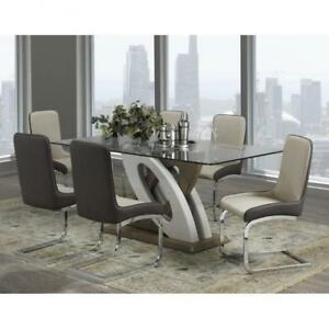7 Pc Modern Dining Set With Glass Top (BR1105)