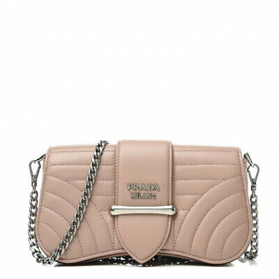 PRADA Women's AUTHENTIC NEW Beige Quilted Leather Crossbody Bag