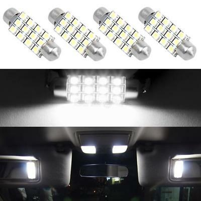 4)6000K White 42MM 3528 Festoon Dome Map Interior LED Light bulb 211-2