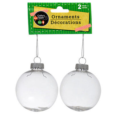 Paintable Clear Plastic Christmas Ball Ornaments, 2-ct. Packs USA