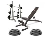 Olympic Barbell + Bench + Squat + Weight Package