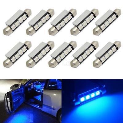 (10 x Car Dome 5050 SMD LED Canbus Bulb Light Interior Festoon led 42MM Blue)