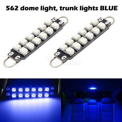 2x 562 Rigid Loop 12 3528 SMD Blue LED Light Lamps 561 562 567 44mm 12V Car Bulb