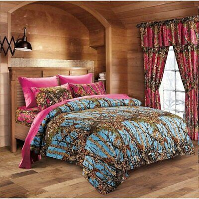 7 PC POWDER BLUE CAMO!! QUEEN COMFORTER w/ HOT PINK SHEETS CAMOUFLAGE -