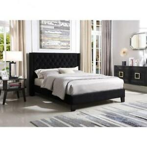 Queen Black Bed Frame with tufted Headboard on Sale  (BR33)