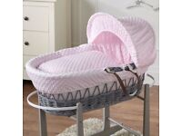 Moses Basket & Rocking Stand - Pink & Gray - In Excellent Clean Condition