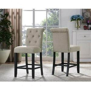 Brassex 638-24-BEI Soho Tufted 24 Bar Stool, Set of 2, Beige (Assembled)