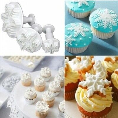 3Pcs Snowflake Cake Decorating Fondant Plunger Cutters Mold Mould Cookies Tools