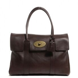 Authentic Mulberry Bayswater large chocolate bag with receipt