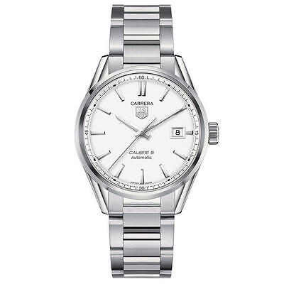 WAR211B.BA0782 TAG HEUER CARRERA CALIBRE 5 MENS WATCH WHITE DIAL STAINLESS STEEL