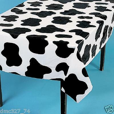 4 Birthday Party Decoration COW SPOTS FARM Barnyard Western Cowboy TABLE COVER