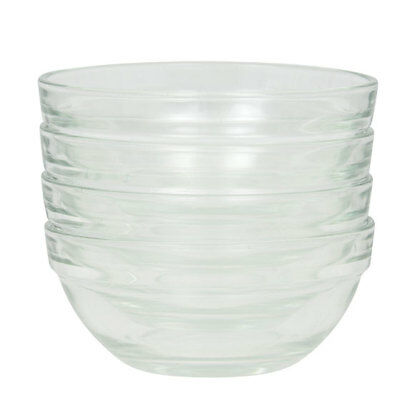 New Cooking Prep Bowls 4 Small Glass, 3.5 Inch Diameter, Baking, USA Seller