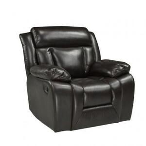 Relaxed Recliner Chair in Black Leather BR04 SA 1011C (BD-1319)