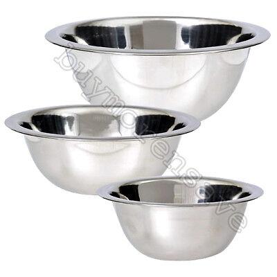Mixing Bowl 3 PC Set Stainless Steel Kitchen Cook Bakeware Food Serving 3 Sizes Serve Kitchen Set