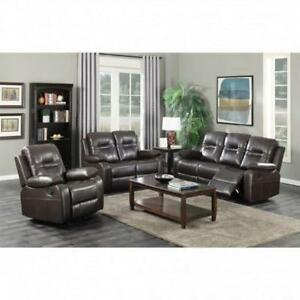 Aire-leather 3 PC Brown Recliner Set (BD-1838)