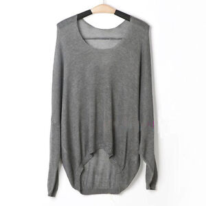 Fashion Ladies Casual Batwing Round Neck Knitted Jumper Loose Pullover Sweater J