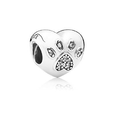 New Authentic Pandora Charm 791713Cz I Love My Pet Bead Box Included