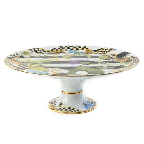 """MacKenzie-Childs Porcelain Thistle & Bee Cake Stand New 12"""" dia., 4.75"""" tall"""