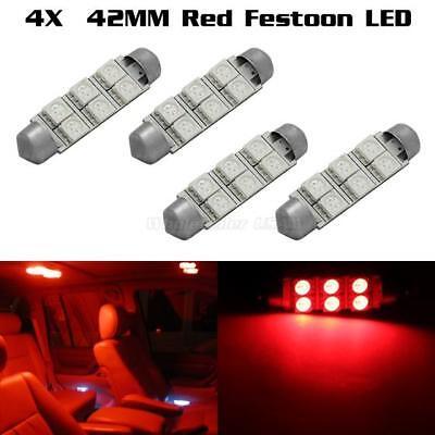 4 x Car Dome 5050 SMD LED Bulb Light Interior Festoon led 42MM Red For Chevrolet