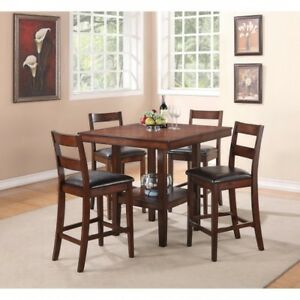 solid wood pub table with 4 chairs