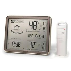 Weather Forecaster with Jumbo Display, Remote Sensor and Atomic Clock Monochrome
