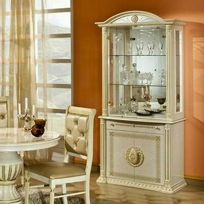 The Versace Italian Design Rossella Beige/Gold 2 Door Vetrine/Display Cabinet