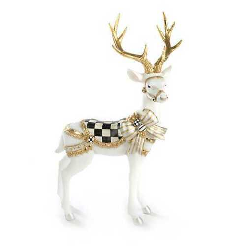 Mackenzie-Childs Courtly Check Deer White Bow Tie Deer - Standing 🦌
