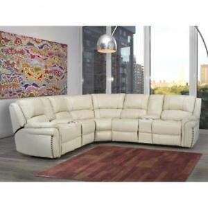 Cream Leather Power Sectional Recliner Set (BD-1845)
