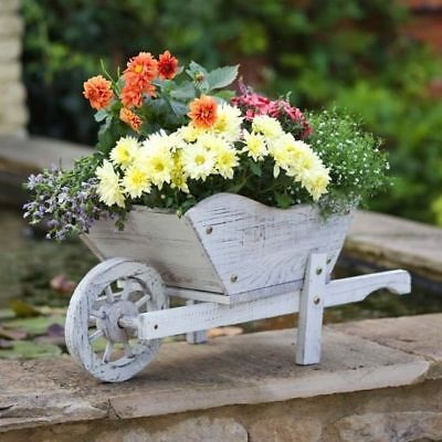 White Woodland Wheelbarrow For Planting Decorative Wooden Wheel Barrow Planter - Decorative Wheelbarrow