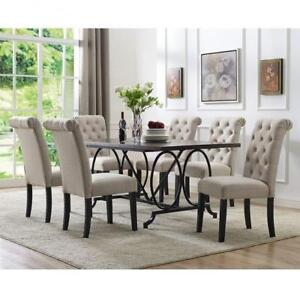 Rectangular 7 PC Dining with tufted Chairs (BD-1809)