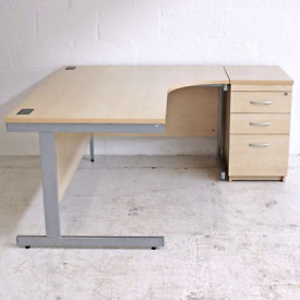 Maple Cantilever Radial Desk & Pedestal (Left or Right Hand)