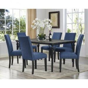 Blue Rectangular Dining Set with 6 Chairs on Sale (BD-1801)