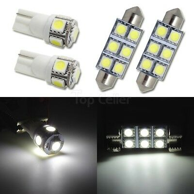 4 White Led lights Dome + Map Light Interior Package T10 168 211-2 Festoon