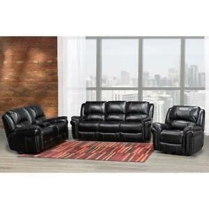 Black Leather Recliner Set with Nailheads (BD-1843)