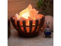 WOODEN BASKET LIGHT WITH HIMILAYAN ROCK SALTS BRAND NEW