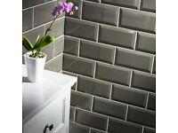 10 boxes of grey metro gloss tiles