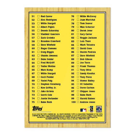 2020 TOPPS NOW Turn Back The Clock Checklist #1-100  **PRE-SALE**