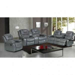GREY LEATHER COUCH SET OR GRAY LEATHER RECLINING SOFA (BD-1251)