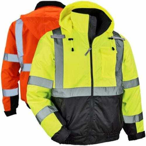 ERGODYNE GloWear 8377 Thermal High Visibility Quilted Bomber Jacket, Class 3
