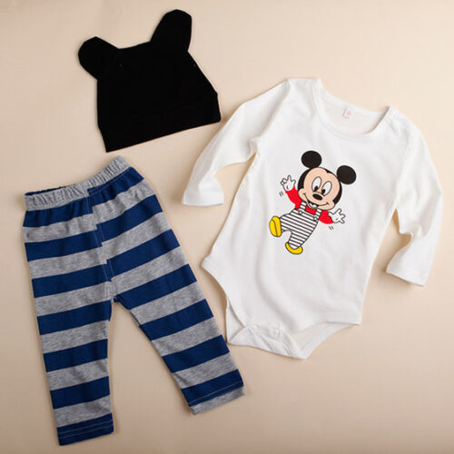 Kleinkinder Baby Mädchen Mickey Minnie Strampler Bodysuit Hose Hut Outfit Set DE