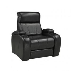 Reclining Arm Chair in Black Leather with Wide Sitting Area BR04 12000-3901 (BD-1315)