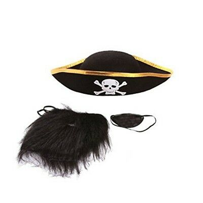 Halloween Cosplay ship Pirate Captain Accessories (pirate hat+glasses+beard A5G8