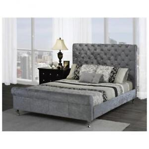 Silver Chenille Tufted Queen Bed with Nailheads web exclusive deal (BR682)