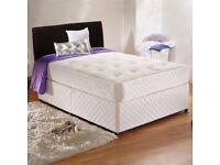 Double Divan Bed With Deep Quilt Mattress . Single, Small Double , kingsize