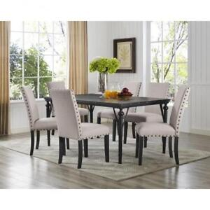 Beige  7 PC Dining Set with fabric Chairs BR04 167-70-BEI (BD-1799)
