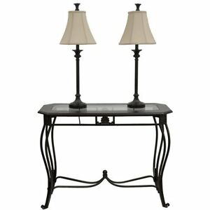 Black/Bronze Sofa Table Set with Two Buffet Lamps (BRAND NEW)
