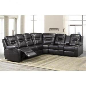 Aire-leather Brown Sectional Recliner Set on Sale (BD-1842)