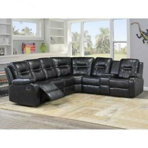 Aire-leather Black Sectional Recliner Set on Sale (BD-1840)