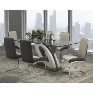 Modern Dining Set with Glass Top (BD-1828)